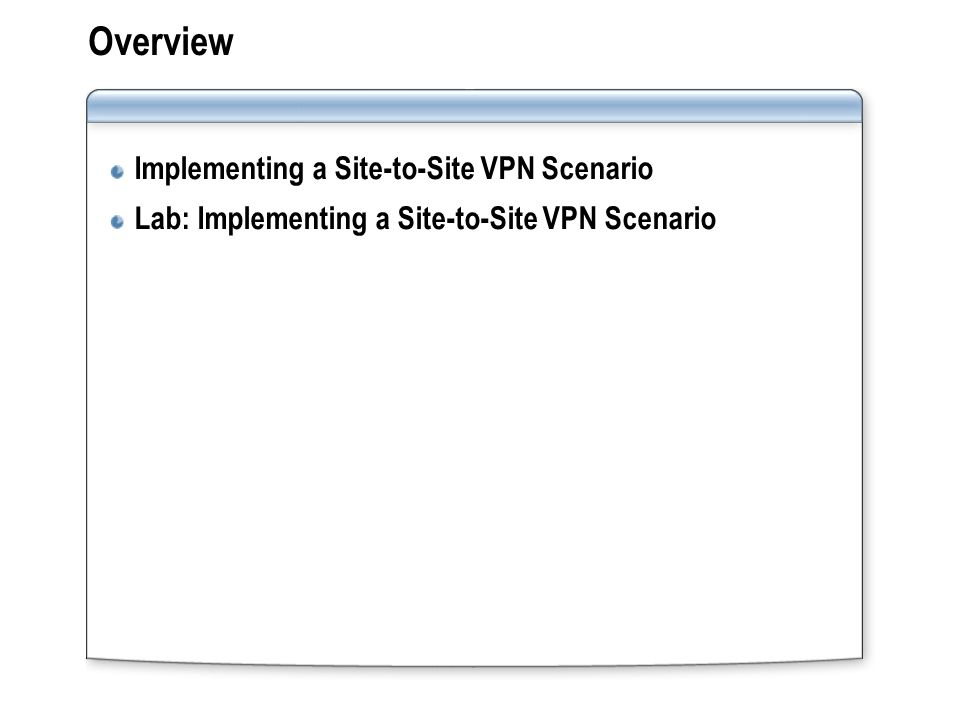 Lesson: Implementing a Site-to-Site VPN Scenario Issues in Deploying Site-to-Site VPNs Guidelines for Implementing Distributed Configuration Storage Servers Guidelines for Implementing Network Load Balancing for VPN Guidelines for Configuring ISA Server Clients Guidelines for Configuring Access Rules for Site-to-Site VPNs
