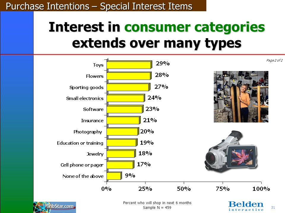 31 Interest in consumer categories extends over many types Page 2 of 2 Purchase Intentions – Special Interest Items Percent who will shop in next 6 mo