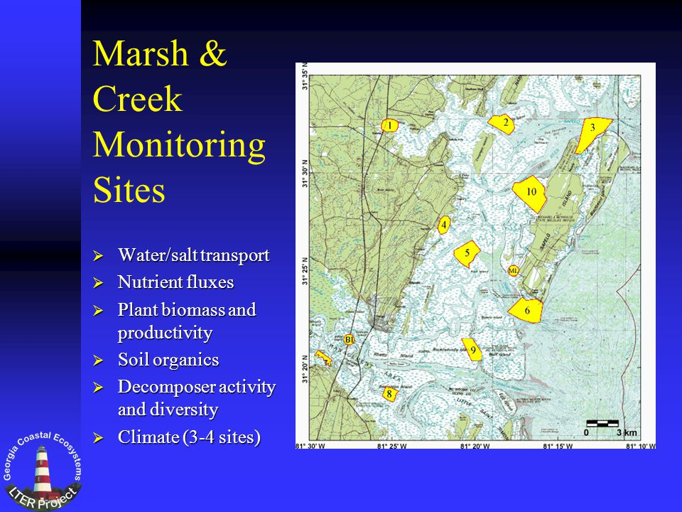 Marsh & Creek Monitoring Sites Water/salt transport Water/salt transport Nutrient fluxes Nutrient fluxes Plant biomass and productivity Plant biomass and productivity Soil organics Soil organics Decomposer activity and diversity Decomposer activity and diversity Climate (3-4 sites) Climate (3-4 sites)