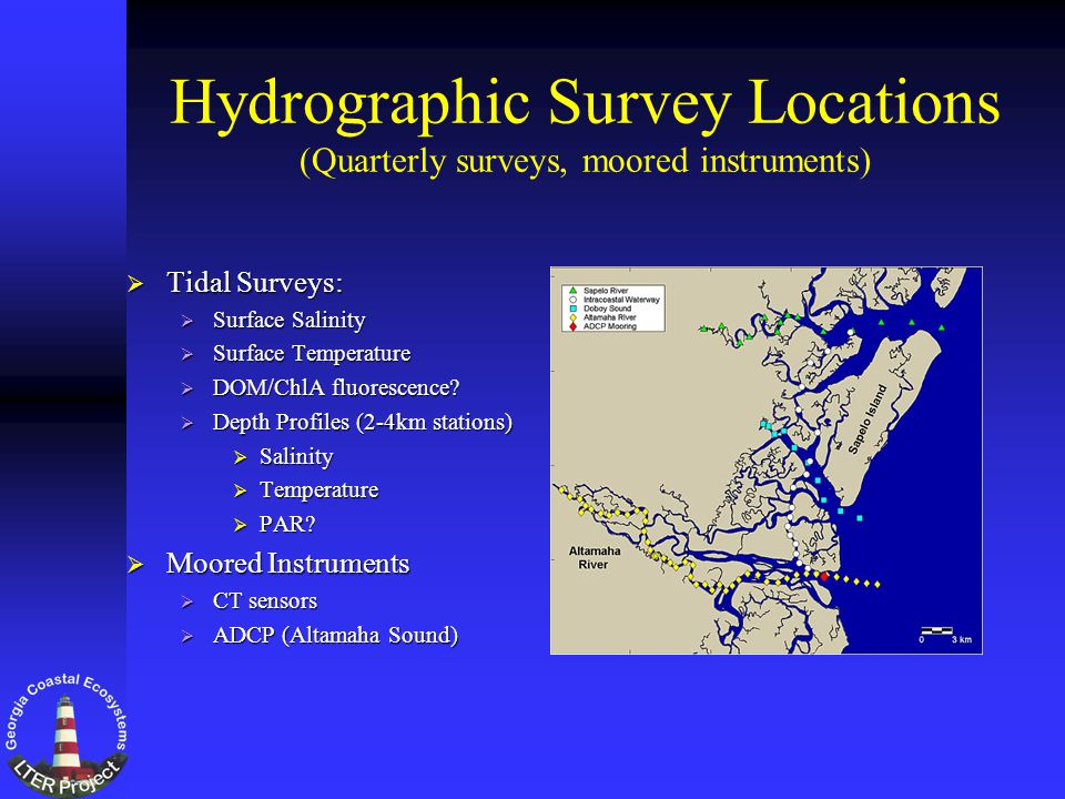 Hydrographic Survey Locations (Quarterly surveys, moored instruments) Tidal Surveys: Tidal Surveys: Surface Salinity Surface Salinity Surface Temperature Surface Temperature DOM/ChlA fluorescence.