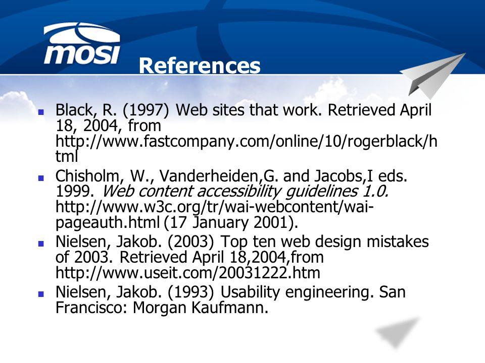 References Black, R. (1997) Web sites that work.