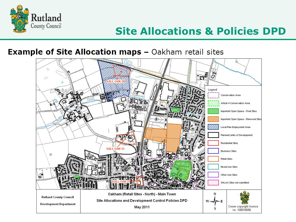 Site Allocations & Policies DPD Example of Site Allocation maps – Oakham retail sites