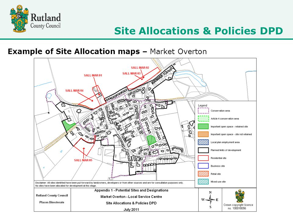 Site Allocations & Policies DPD Example of Site Allocation maps – Market Overton