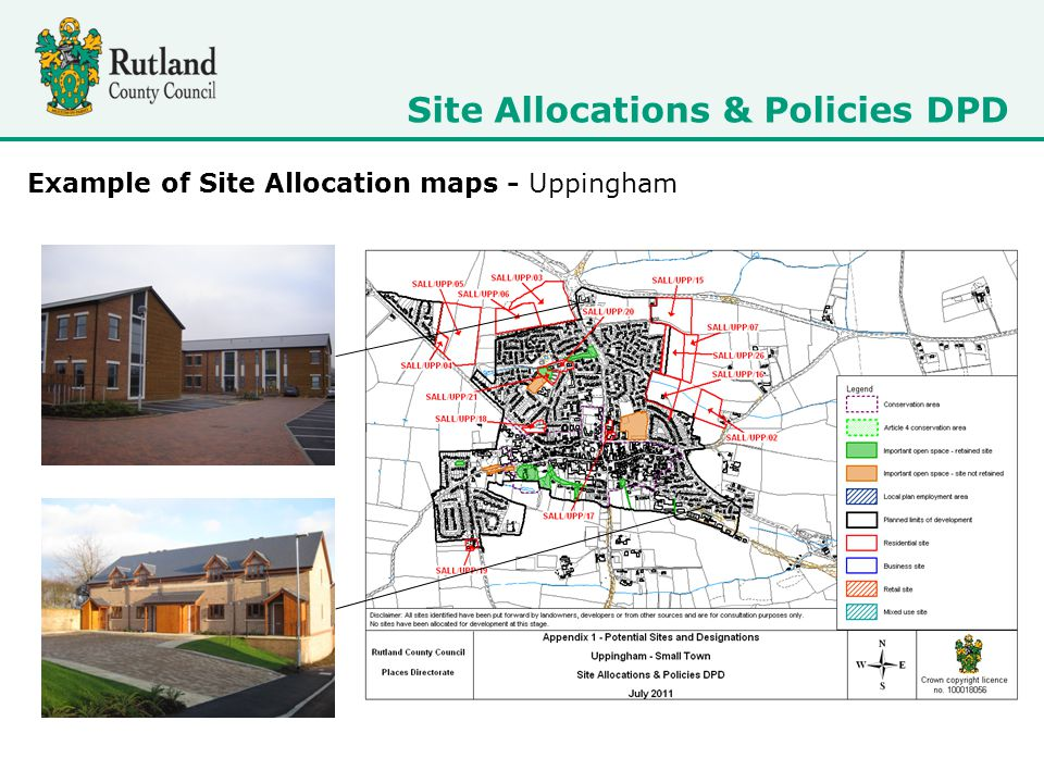 Site Allocations & Policies DPD Example of Site Allocation maps - Uppingham