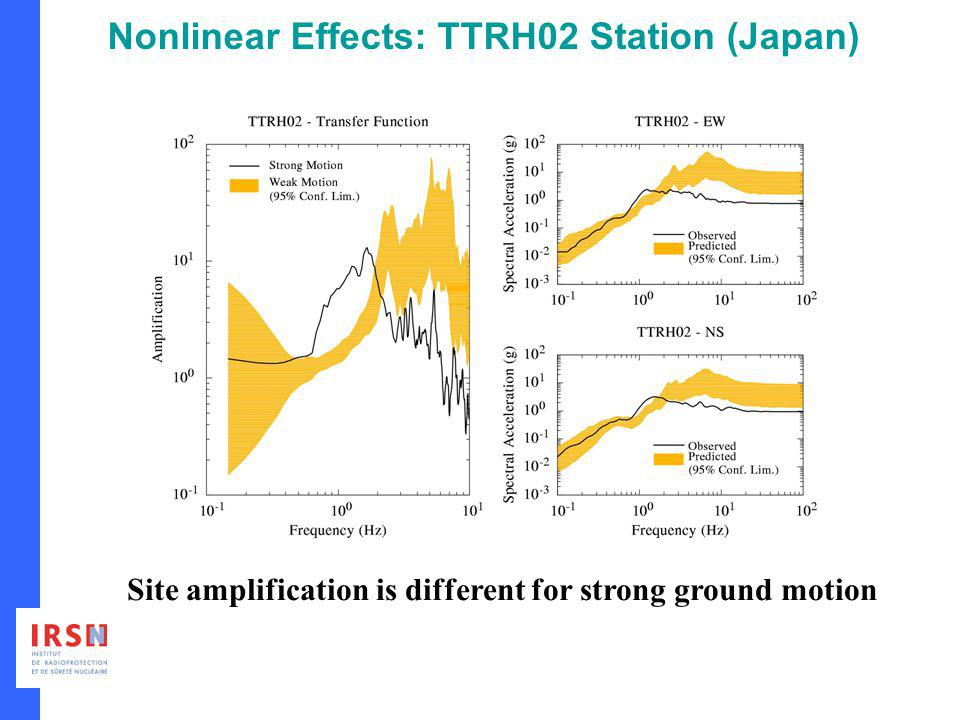 Nonlinear Effects: TTRH02 Station (Japan) Site amplification is different for strong ground motion