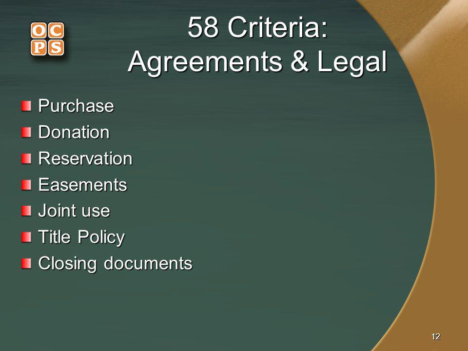 1212 58 Criteria: Agreements & Legal PurchaseDonationReservationEasements Joint use Title Policy Closing documents