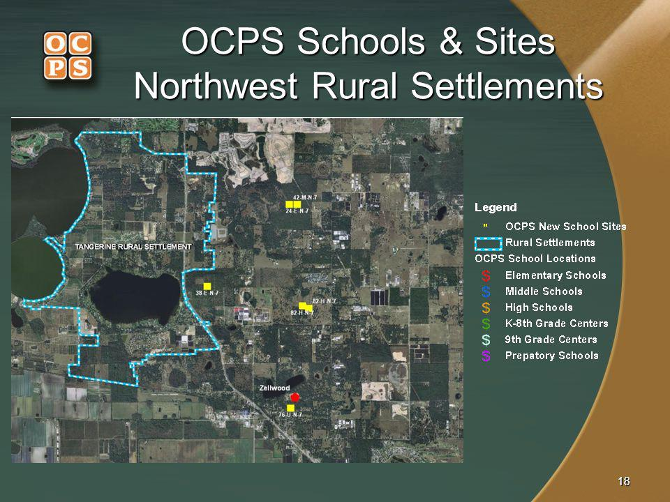 1818 OCPS Schools & Sites Northwest Rural Settlements