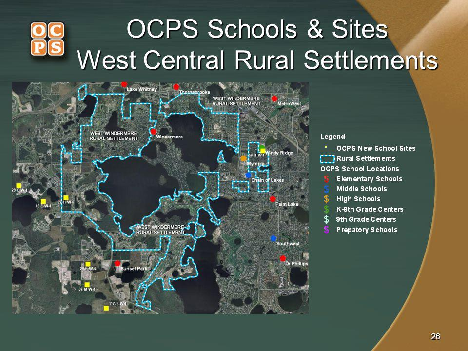 2626 OCPS Schools & Sites West Central Rural Settlements