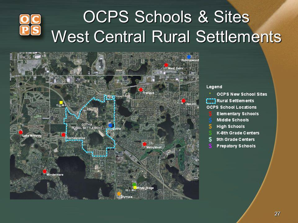 2727 OCPS Schools & Sites West Central Rural Settlements