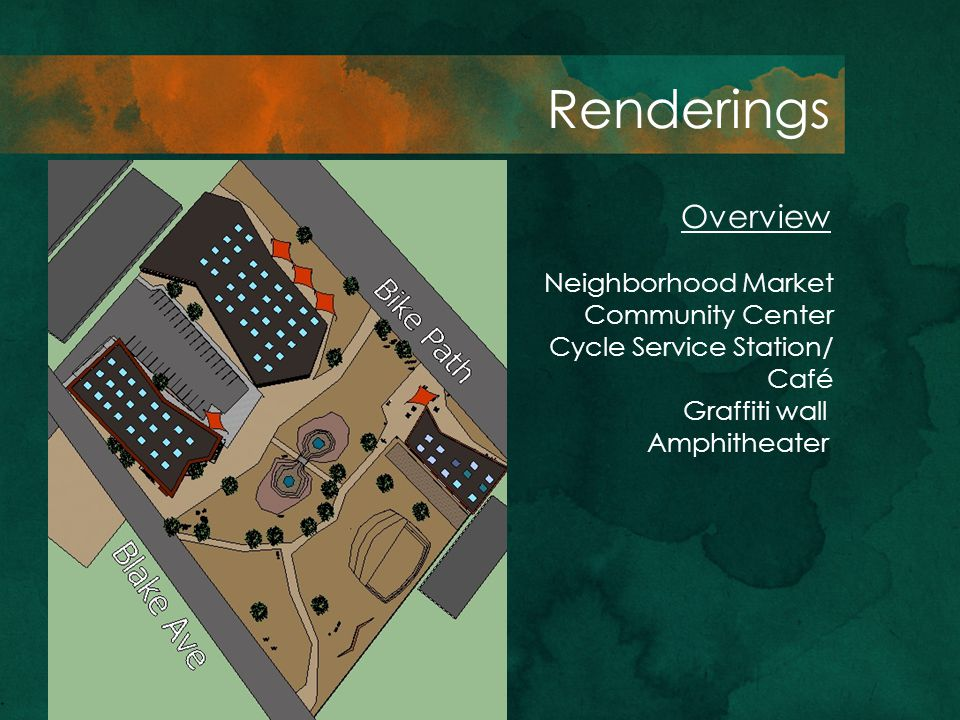 Overview Renderings Neighborhood Market Community Center Cycle Service Station/ Café Graffiti wall Amphitheater