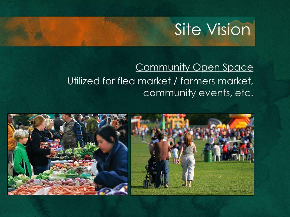 Site Vision Community Open Space Utilized for flea market / farmers market, community events, etc.