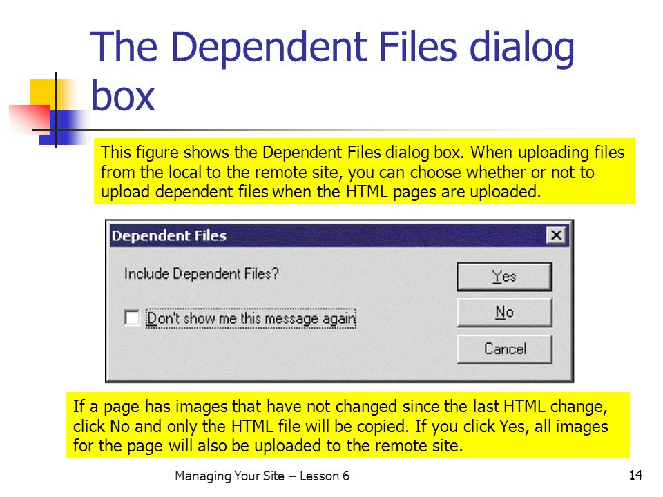14 Managing Your Site – Lesson 6 The Dependent Files dialog box This figure shows the Dependent Files dialog box.