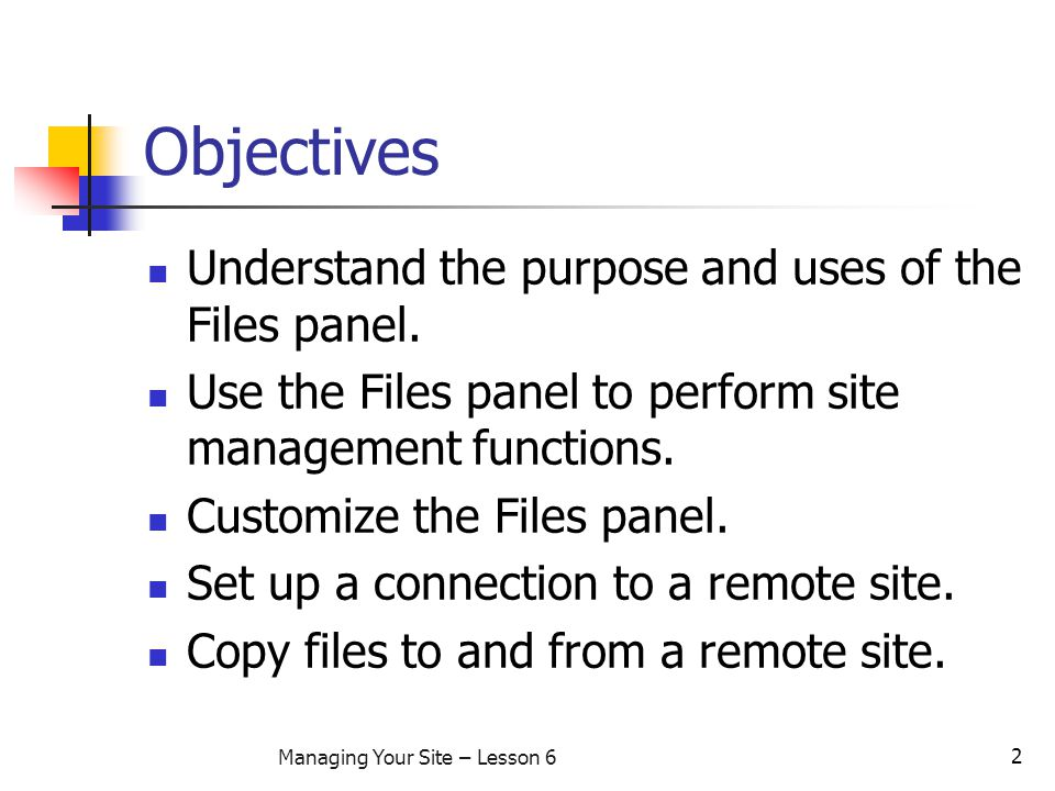 2 Managing Your Site – Lesson 6 Objectives Understand the purpose and uses of the Files panel.