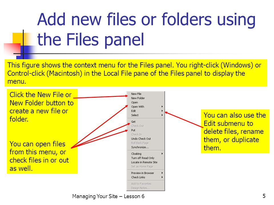 5 Managing Your Site – Lesson 6 Add new files or folders using the Files panel This figure shows the context menu for the Files panel.
