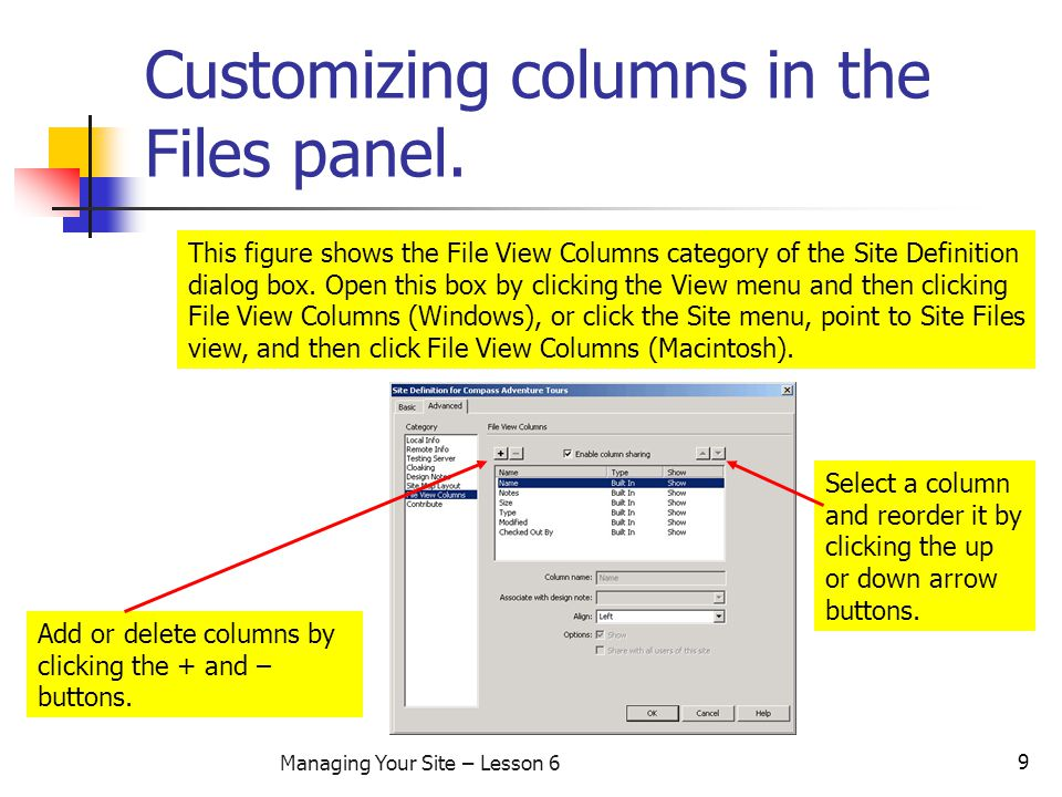 9 Managing Your Site – Lesson 6 Customizing columns in the Files panel.