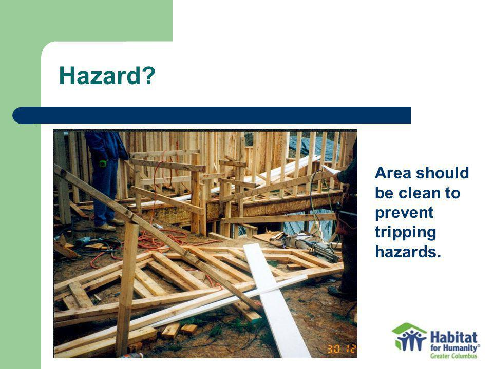 Hazard? Area should be clean to prevent tripping hazards.