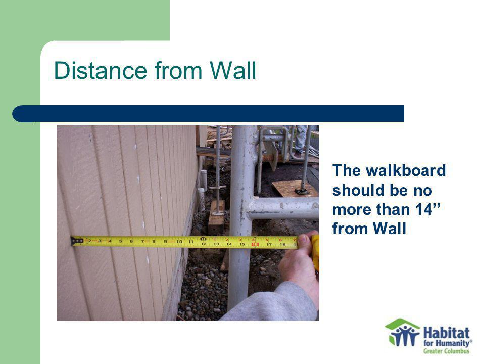 Distance from Wall The walkboard should be no more than 14 from Wall