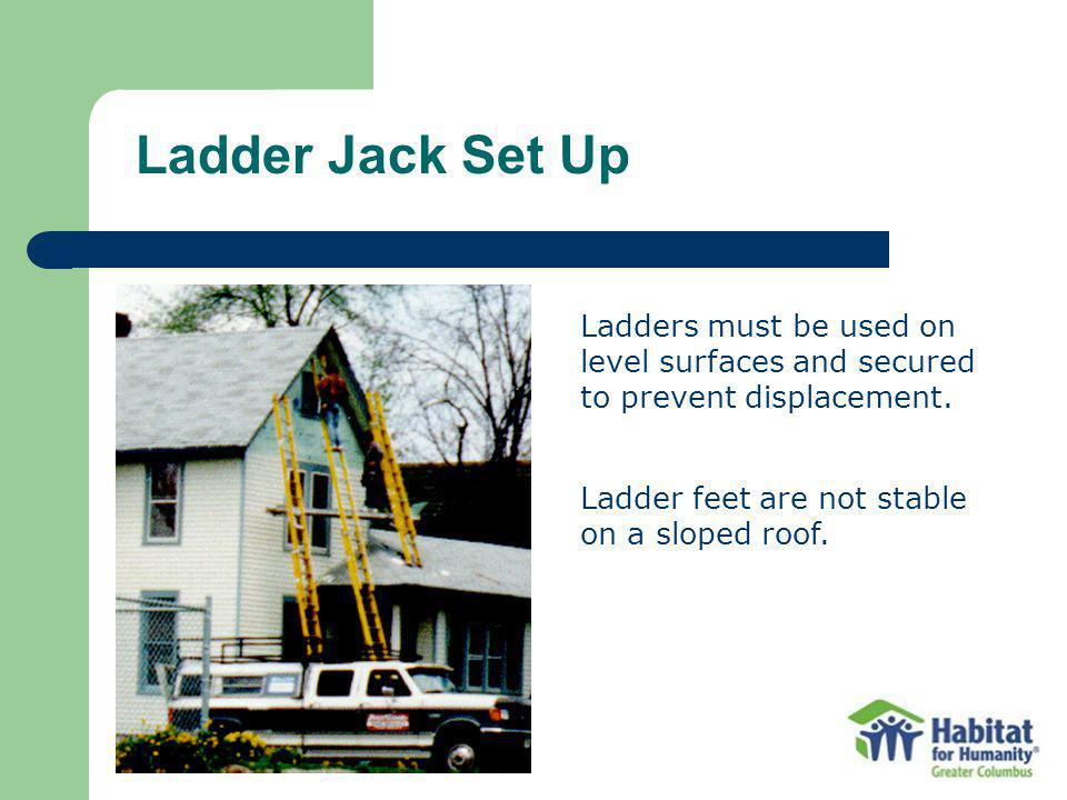 Ladders must be used on level surfaces and secured to prevent displacement.