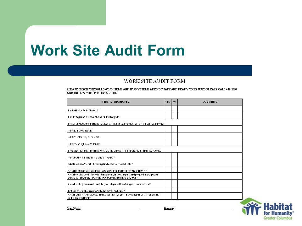 Work Site Audit Form