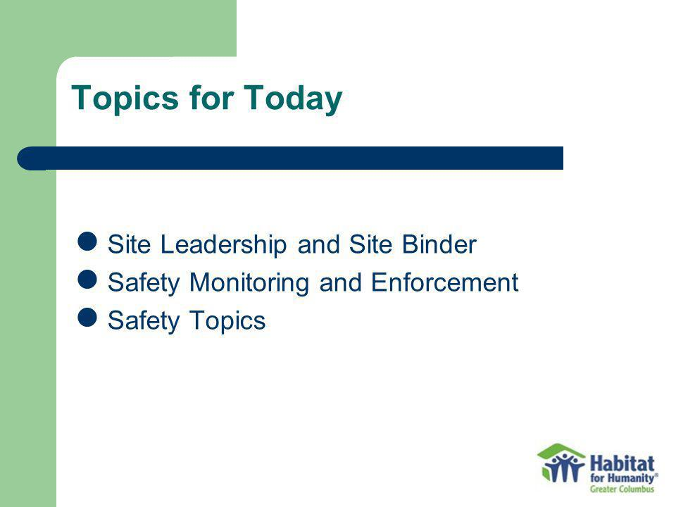 Topics for Today Site Leadership and Site Binder Safety Monitoring and Enforcement Safety Topics