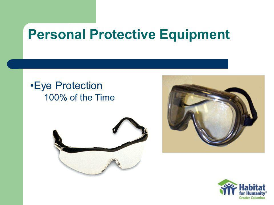Personal Protective Equipment Eye Protection 100% of the Time