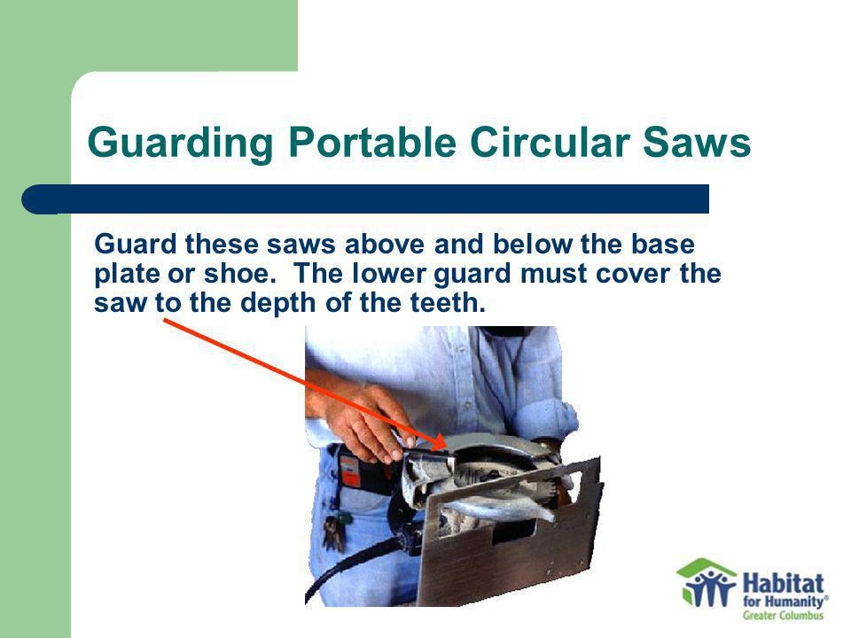 Guard these saws above and below the base plate or shoe.