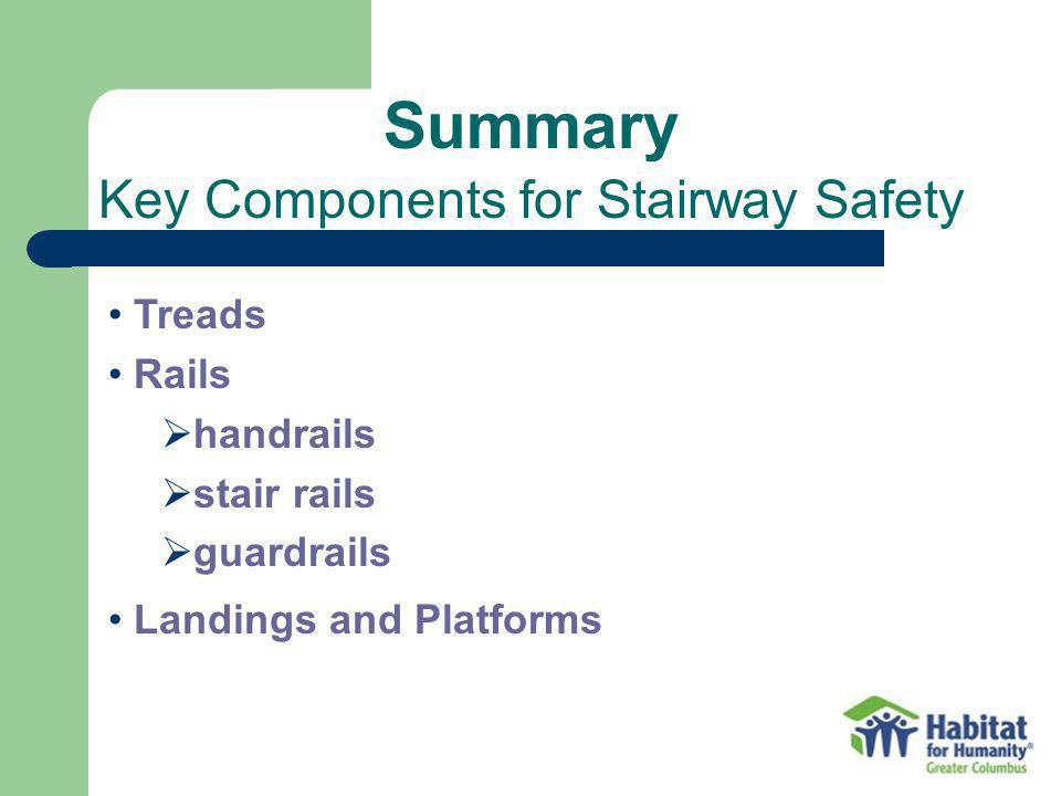 Summary Key Components for Stairway Safety Treads Rails handrails stair rails guardrails Landings and Platforms