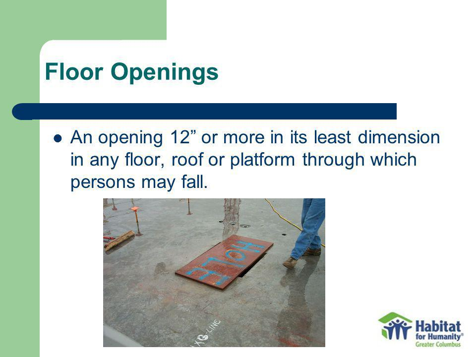 An opening 12 or more in its least dimension in any floor, roof or platform through which persons may fall.