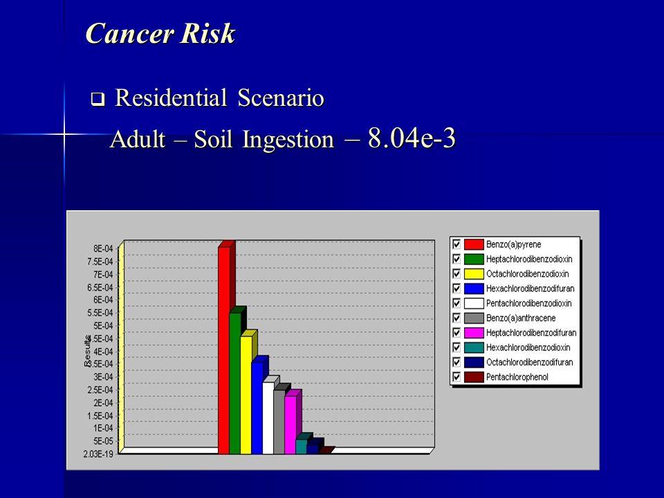 Cancer Risk Residential Scenario Residential Scenario Adult – Soil Ingestion – 8.04e-3 Adult – Soil Ingestion – 8.04e-3