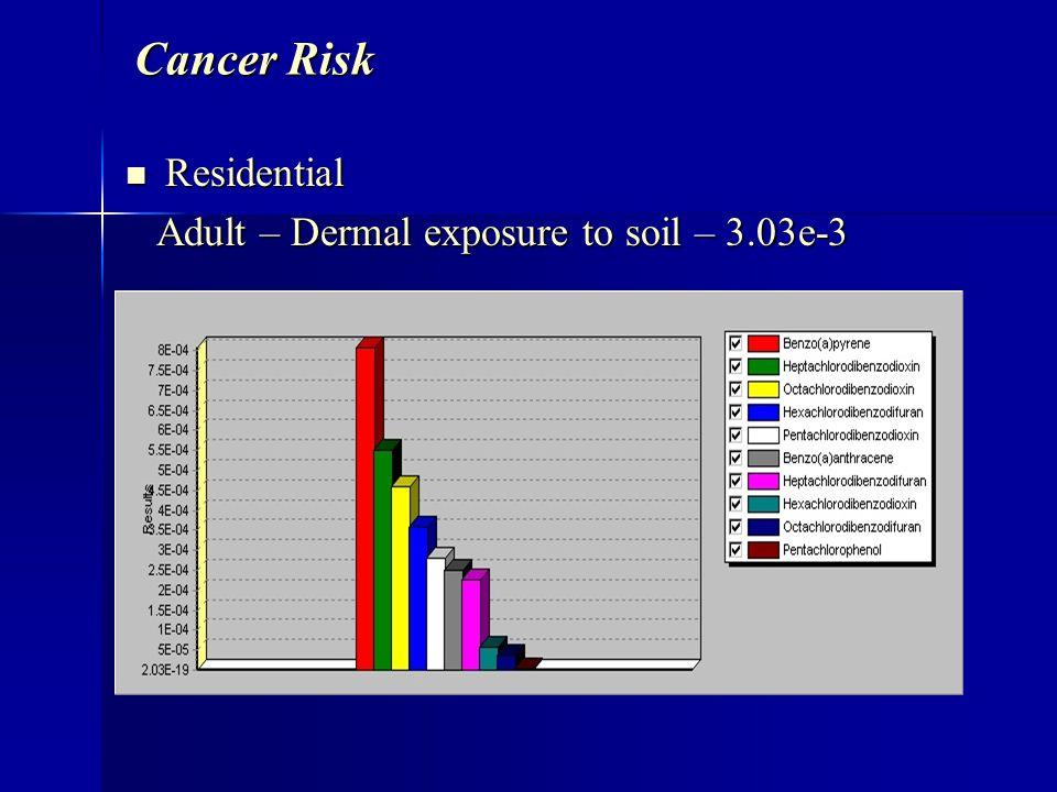 Cancer Risk Residential Residential Adult – Dermal exposure to soil – 3.03e-3 Adult – Dermal exposure to soil – 3.03e-3