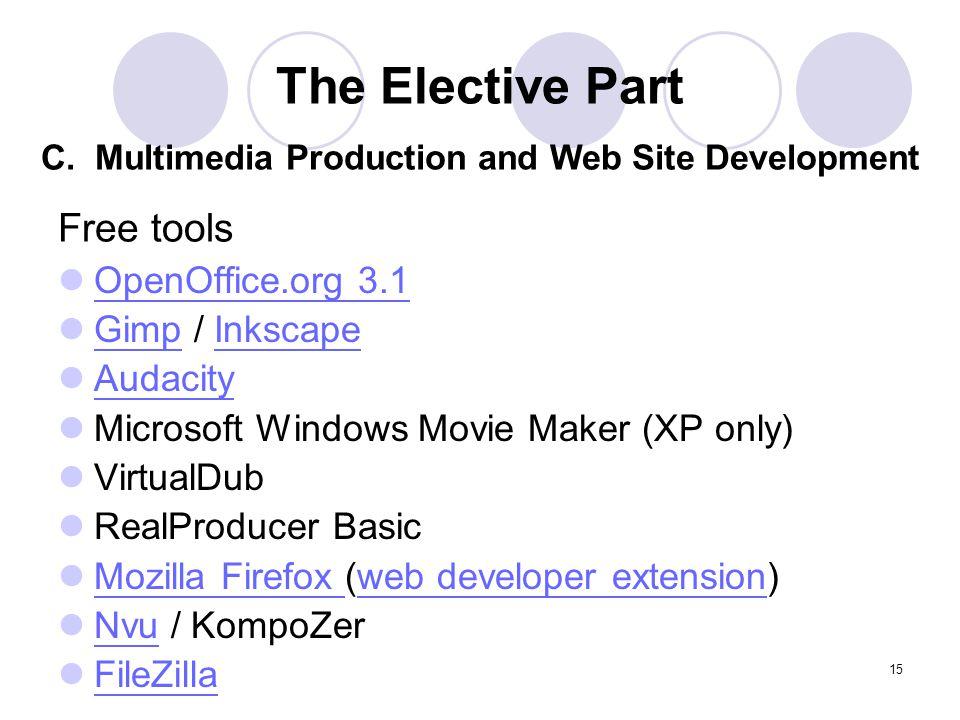 15 Free tools OpenOffice.org 3.1 Gimp / Inkscape GimpInkscape Audacity Microsoft Windows Movie Maker (XP only) VirtualDub RealProducer Basic Mozilla F