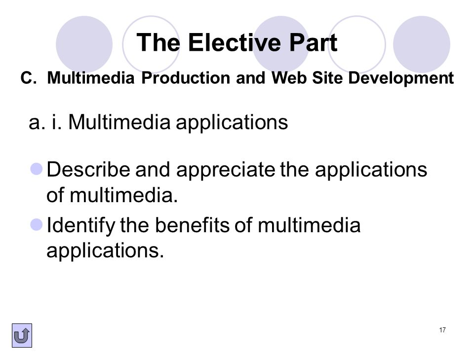 17 a. i. Multimedia applications Describe and appreciate the applications of multimedia. Identify the benefits of multimedia applications. The Electiv