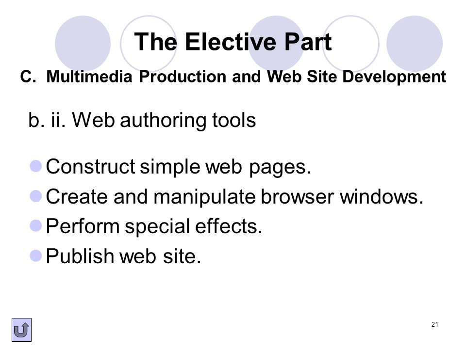 21 b. ii. Web authoring tools Construct simple web pages. Create and manipulate browser windows. Perform special effects. Publish web site. The Electi
