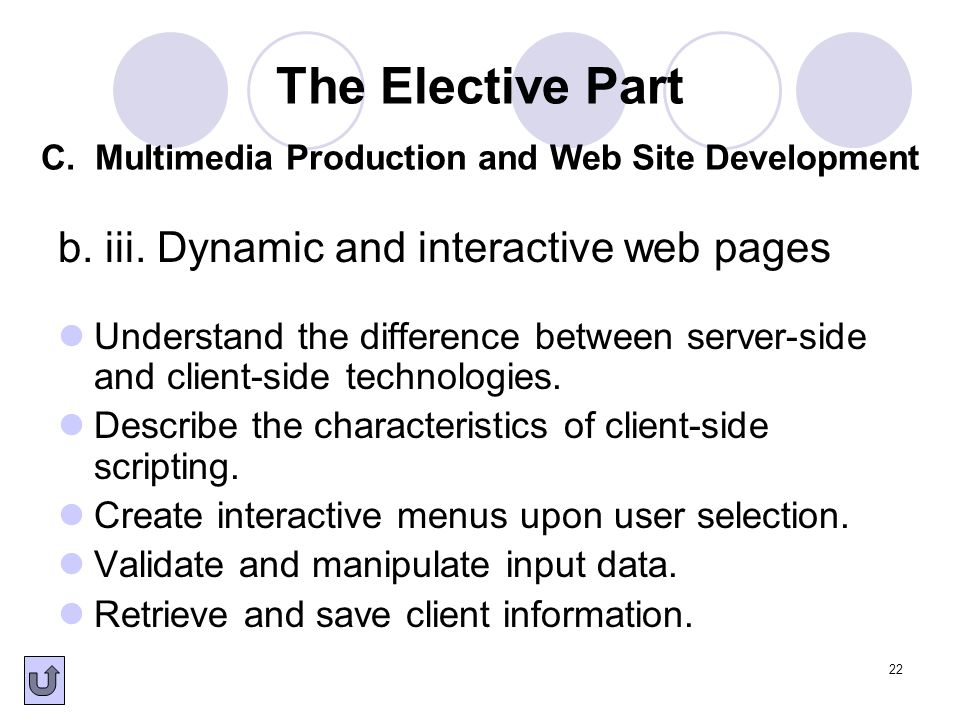 22 b. iii. Dynamic and interactive web pages Understand the difference between server-side and client-side technologies. Describe the characteristics