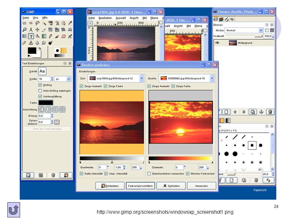 24 http://www.gimp.org/screenshots/windowsxp_screenshot1.png