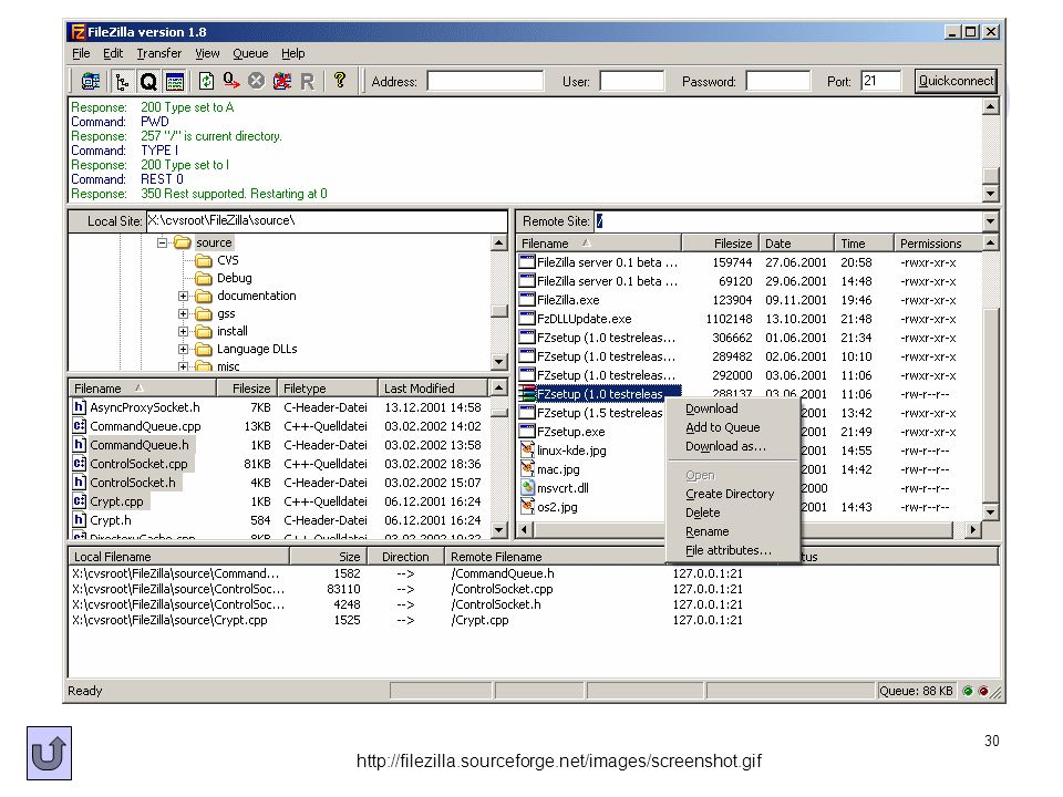 30 http://filezilla.sourceforge.net/images/screenshot.gif