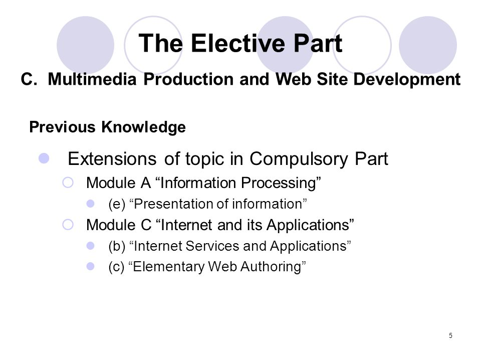 5 Extensions of topic in Compulsory Part Module A Information Processing (e) Presentation of information Module C Internet and its Applications (b) Internet Services and Applications (c) Elementary Web Authoring Previous Knowledge The Elective Part C.