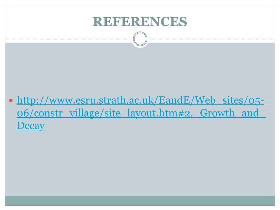 REFERENCES http://www.esru.strath.ac.uk/EandE/Web_sites/05- 06/constr_village/site_layout.htm#2._Growth_and_ Decay http://www.esru.strath.ac.uk/EandE/Web_sites/05- 06/constr_village/site_layout.htm#2._Growth_and_ Decay