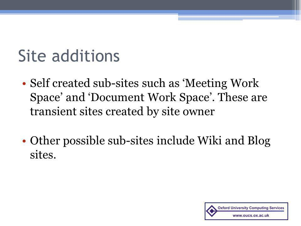 Site additions Self created sub-sites such as Meeting Work Space and Document Work Space.