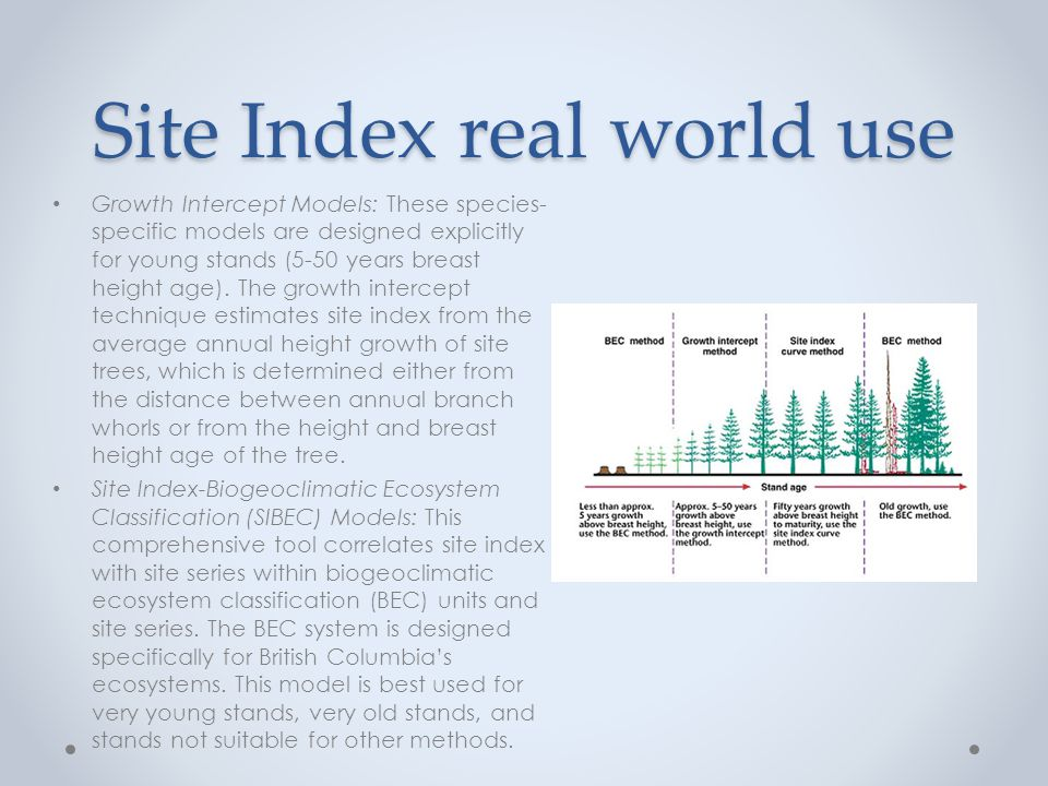 Site Index real world use Growth Intercept Models: These species- specific models are designed explicitly for young stands (5-50 years breast height age).