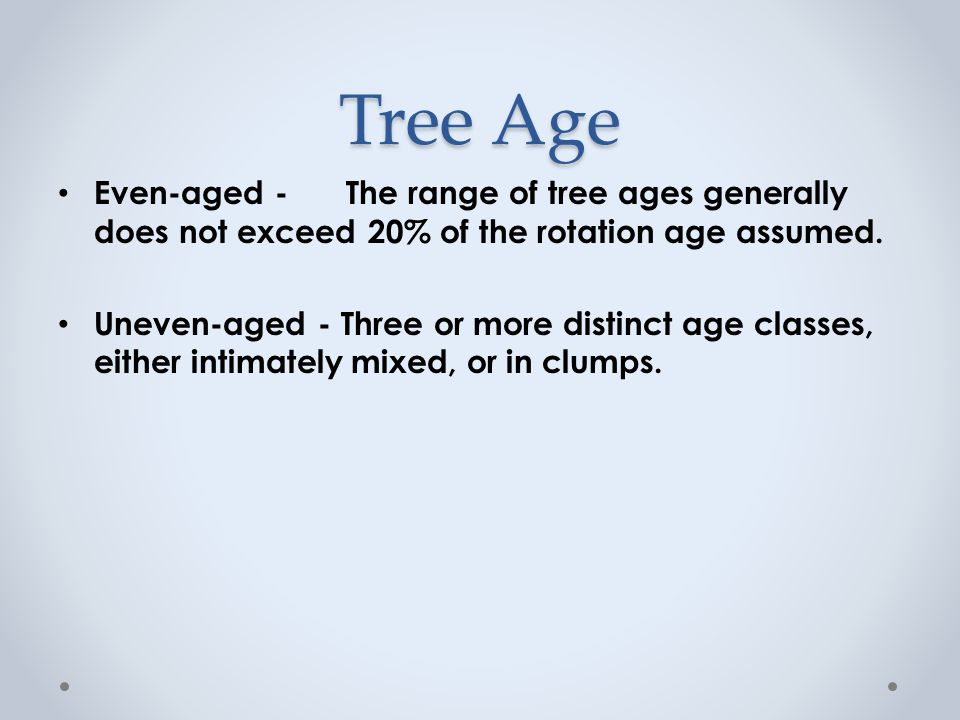Tree Age Even-aged - The range of tree ages generally does not exceed 20% of the rotation age assumed.