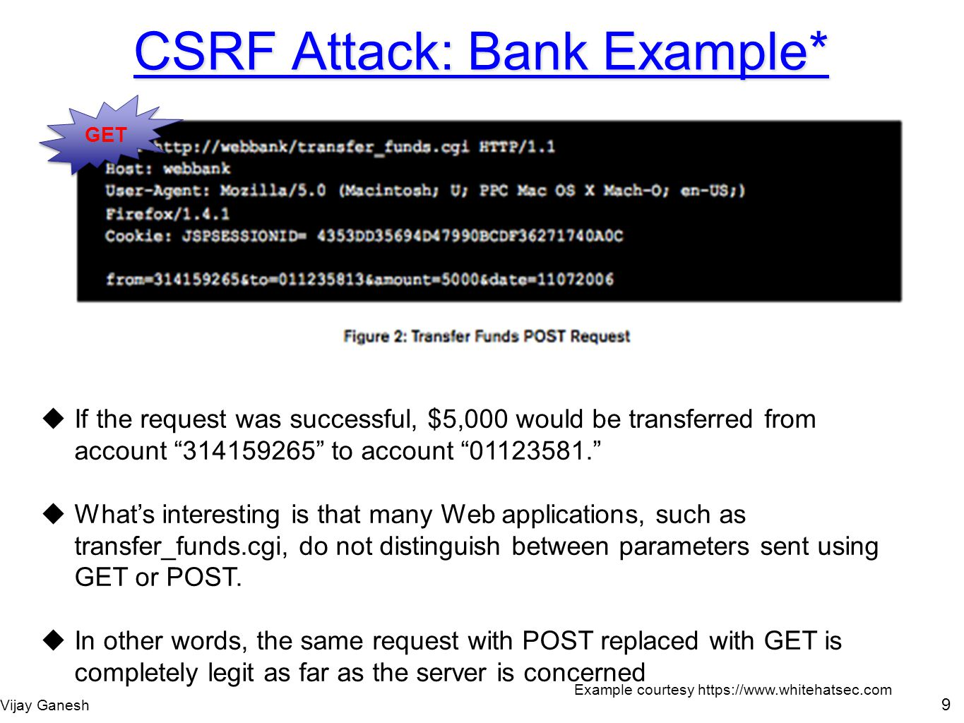 Vijay Ganesh 9 CSRF Attack: Bank Example* If the request was successful, $5,000 would be transferred from account 314159265 to account 01123581. Whats