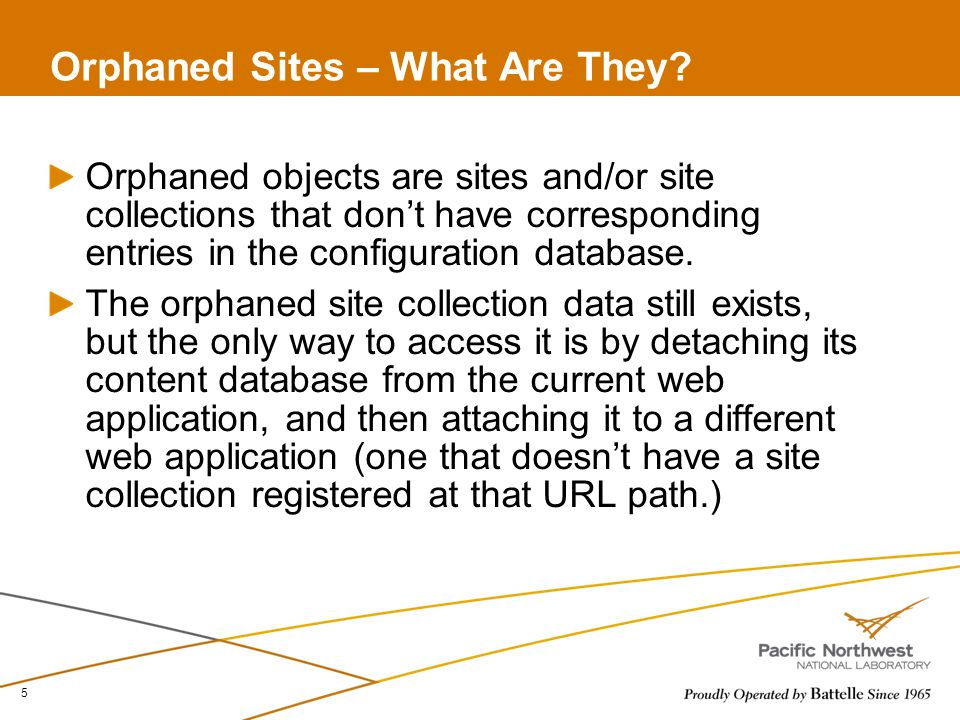 Orphaned Sites – What Are They.