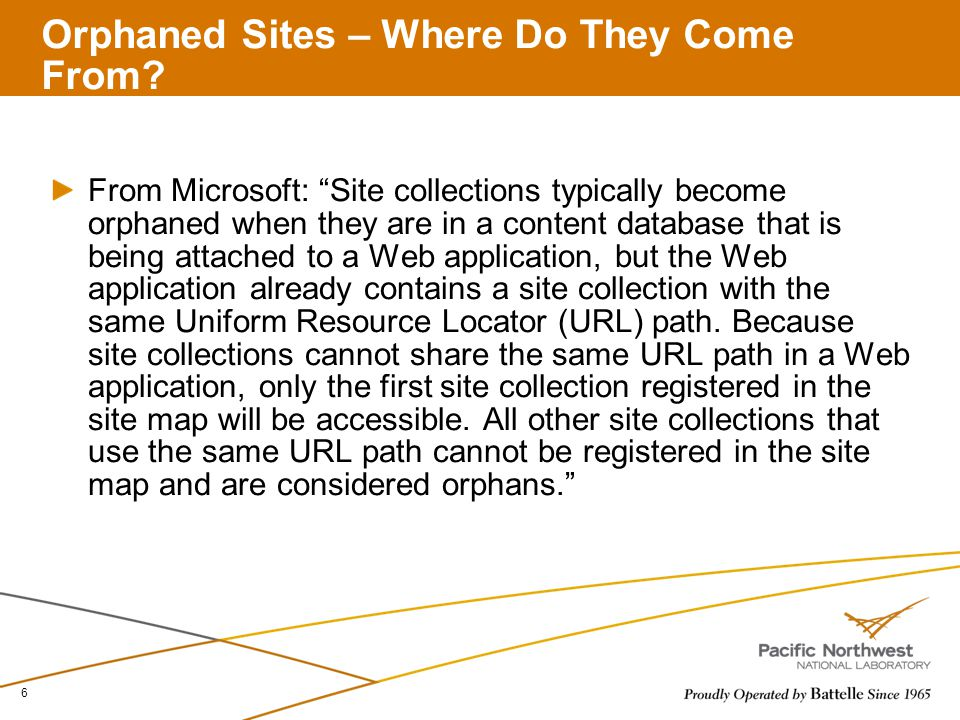 Orphaned Sites – Where Do They Come From.