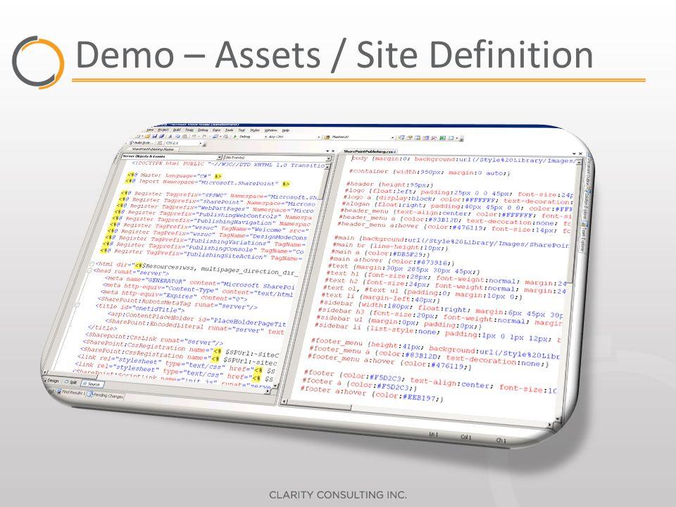 Demo – Assets / Site Definition