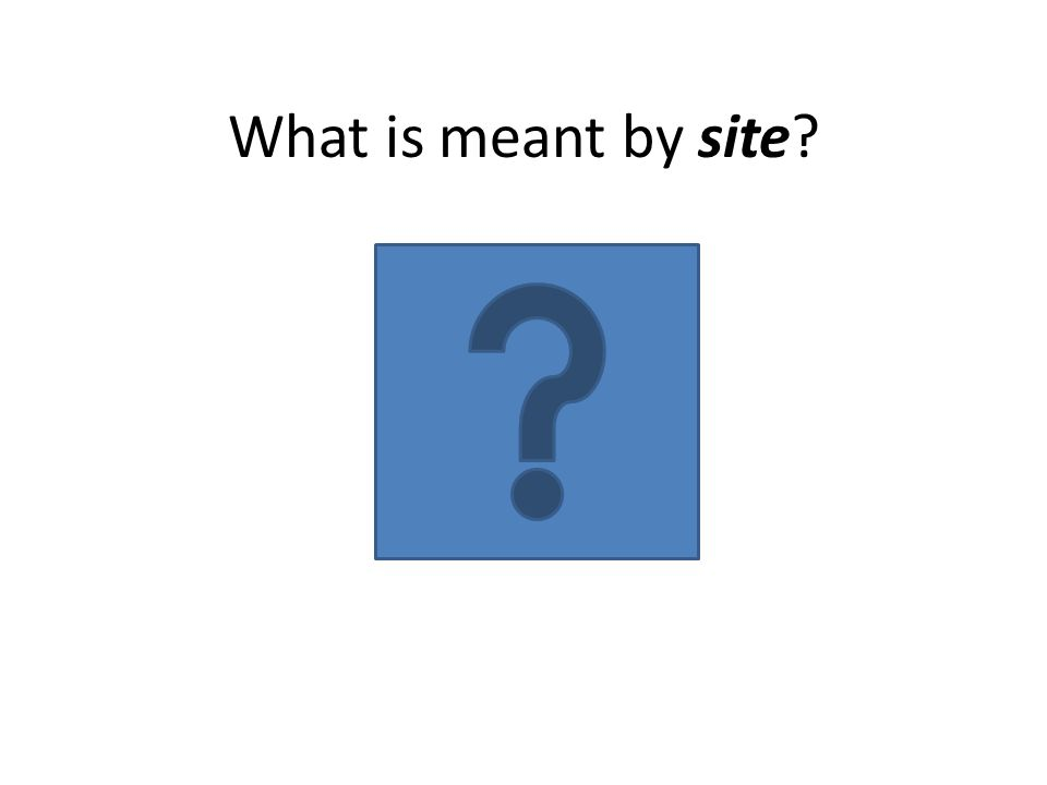 What is meant by site?