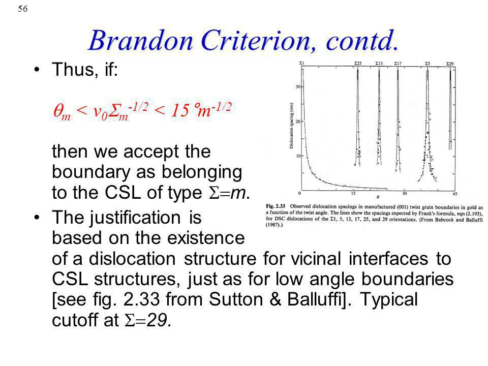 56 Brandon Criterion, contd. Thus, if: m < v 0 m -1/2 < 15°m -1/2 then we accept the boundary as belonging to the CSL of type m. The justification is