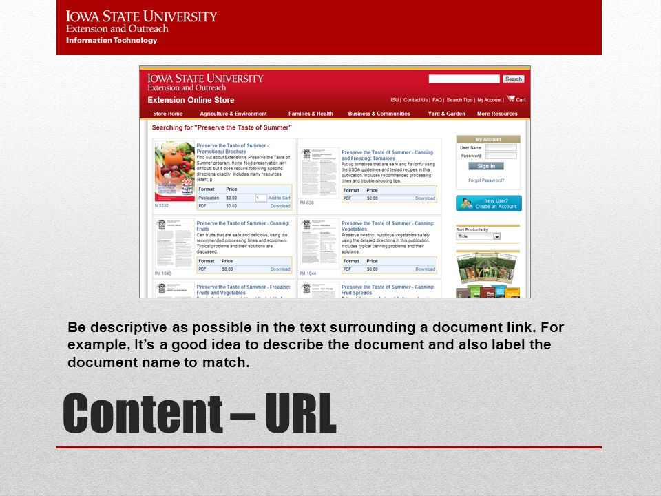 Content – URL Try to reference a number of resources that extend and complement your page content.