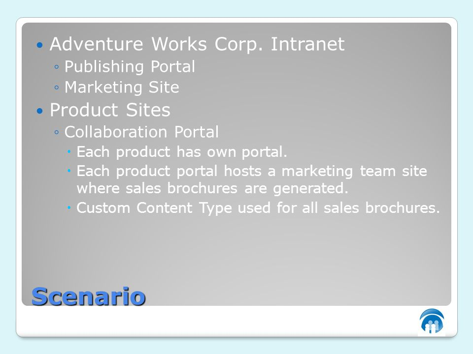 Scenario Adventure Works Corp. Intranet Publishing Portal Marketing Site Product Sites Collaboration Portal Each product has own portal. Each product