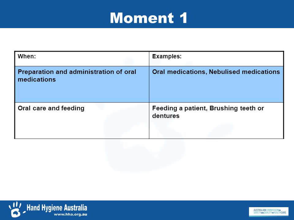 Moment 1 When:Examples: Preparation and administration of oral medications Oral medications, Nebulised medications Oral care and feedingFeeding a pati
